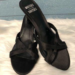 Mootsies Tootsies Black textile kitten heels